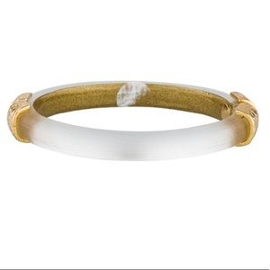 Alexis Bittar gold hinged lucite bangle bracelet